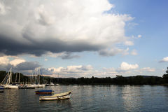 Boats at the lake-2. Panoramic picture of some boats to the lake stock photography