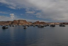 Boats in Lake Powell Royalty Free Stock Photography