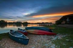 Boats at lake Putrajaya Wetland Park Stock Image