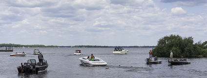 Boats on a lake. Recreational boating on Couchiching Lake in Orillia in Ontario, Canada royalty free stock images