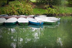 Boats on lake. With reflections in green forest Stock Images