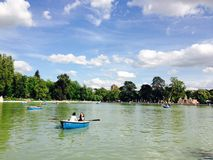 Boats on the lake in Retiro Park Madrid Stock Photos