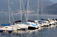 Boats on lake. Row of boats on lake Como in Italy