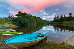 Boats beside a lake Royalty Free Stock Photo