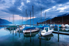 Boats on Lake Thun. Royalty Free Stock Images