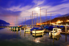 Boats on Lake Thun. Royalty Free Stock Photo