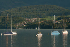 Boats on Lake Thun Royalty Free Stock Images