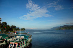 Boats on Lake Toba. Boats are the only transportation to visit Samosir, nn island located in the center of Lake Toba royalty free stock images