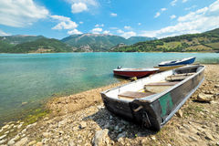 Boats on Lake Turano Stock Photography