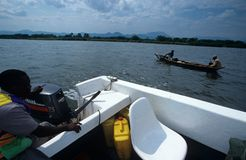Boats on a lake, Uganda. Stock Photos