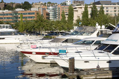Boats at Lake Union Seattle Royalty Free Stock Photos