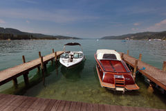 Boats at lake Woerthersee during summertime Stock Images