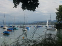 Boats in the lake of Zurich Stock Photography