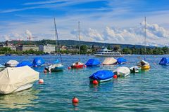 Boats on Lake Zurich Stock Photos