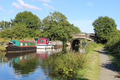 Boats on Lancaster Canal at Garstang, Lancashire Stock Photos