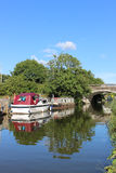 Boats on Lancaster Canal at Garstang, Lancashire Royalty Free Stock Photo