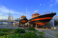 Boats on land Stock Photography