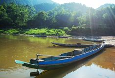 Boats in Laos Royalty Free Stock Photography