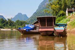 Boats in Laos Stock Image