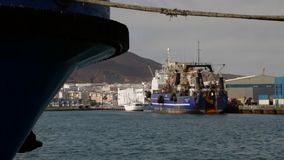 Boats in Las Palmas harbor stock video footage