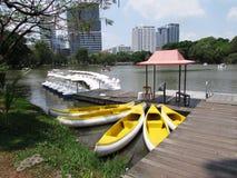 Boats at late at Lumphini Park. Boats on lake at Lumphini Park Bangkok Thailand Stock Photography