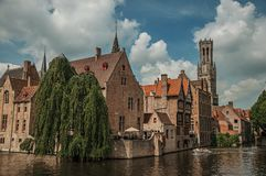 Boats and leafy tree with brick buildings on the canal`s edge in a sunny day at Bruges. Stock Images