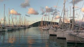 Boats in Lefkada Marina at sunset stock images
