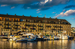 Boats and Lewis Wharf, at the Boston Inner Harbor in Boston Royalty Free Stock Images