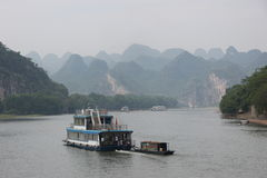 Boats on the Li river, China. Boats on the Li river, Guilin - China royalty free stock image