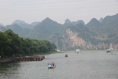 Boats on the Li river. Cruise on the Li river, Guilin - China Royalty Free Stock Photos