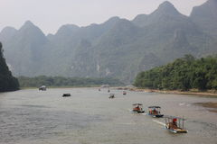 Boats on the Li river. Cruise on the Li river, Guilin - China Royalty Free Stock Photo