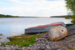 Boats lie on the banks of the river Royalty Free Stock Image