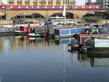 Boats in Limehouse Basin, London, England, UK Stock Images