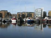 Boats in Limehouse Basin, London, England, UK Stock Image