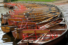Boats. A line of boats on the river stock photo