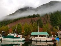 Misty afternoon at the marina stock photo