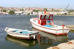 Boats lined up in Golden Horn. Fisher boats lined up in Golden Horn, Balat, Istanbul Royalty Free Stock Photo