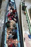 Boats lined up at the market inla lake. Burma Stock Photos