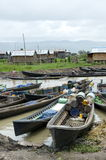 Boats lined up at the market inla lake. Burma Royalty Free Stock Photography