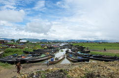 Boats lined up at the market inla lake Stock Photography