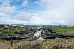 Boats lined up at the market inla lake. Burma Stock Photography