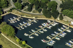 Boats in little port. Aerial view stock photo