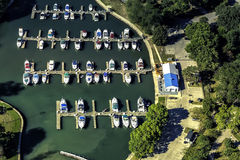 Boats in little port, aerial view Royalty Free Stock Photo