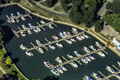 Boats in little port, aerial view Stock Photography