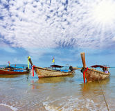 A  boats Longtails anchored awaiting passengers Stock Image