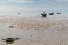 Boats at low tide on the shore of the River Thames. Seen in Southend-on-Sea, Essex, England, UK stock image