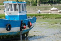 Boats at low tide. Boats without water at low tide stock photography