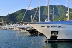 Boats in luxury marina Royalty Free Stock Photos
