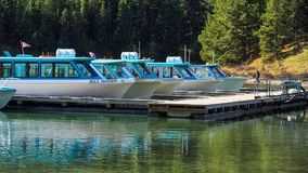 Boats on Maligne Lake stock footage