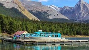 Boats on Maligne Lake stock video
